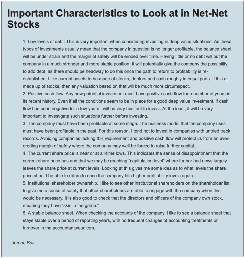 Jeroen Bos Net Net Stock Checklist Items courtesy of the American Association of Individual Investors http://tinyurl.com/j39nsjo
